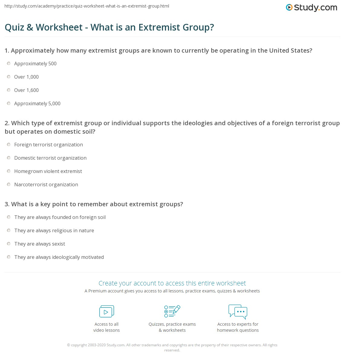 Print Extremist Groups In Criminology: Definition U0026 Overview Worksheet