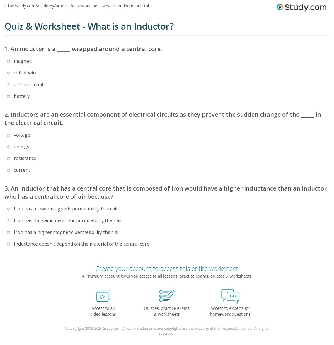 Quiz Worksheet What Is An Inductor Use Of In A Circuit Print Definition Function Uses