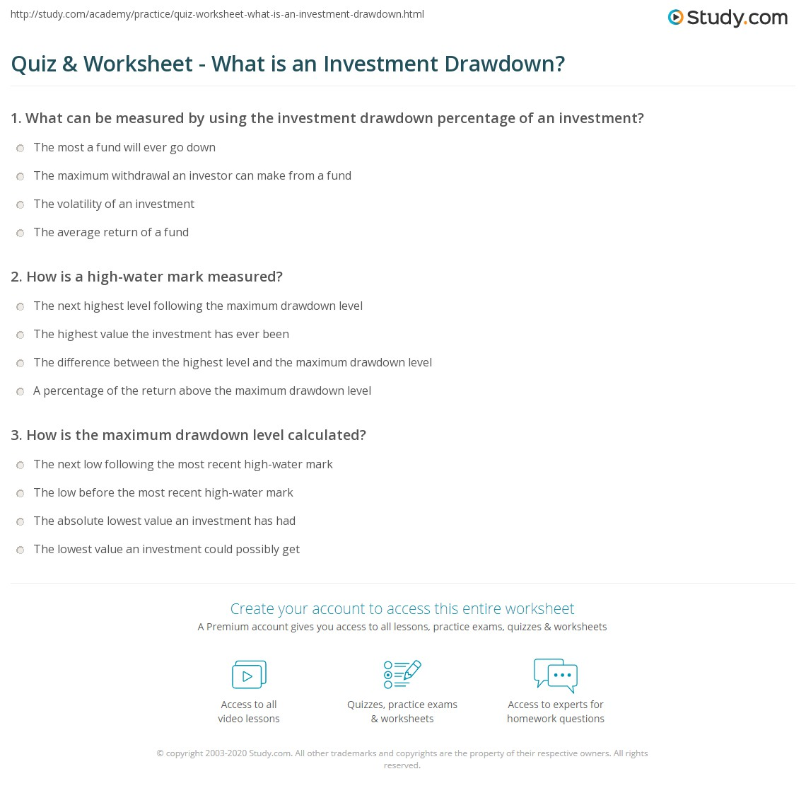 Quiz Worksheet What Is An Investment Drawdown Study Com