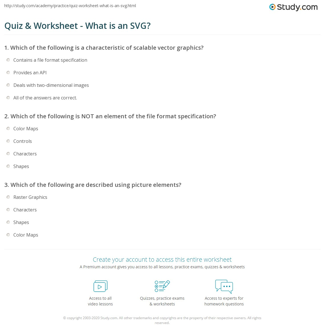 quiz & worksheet - what is an svg? | study