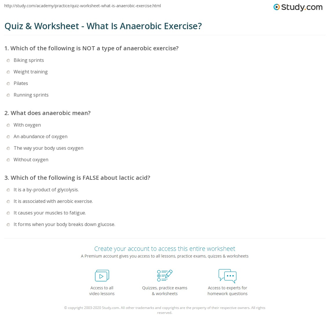 quiz & worksheet - what is anaerobic exercise? | study