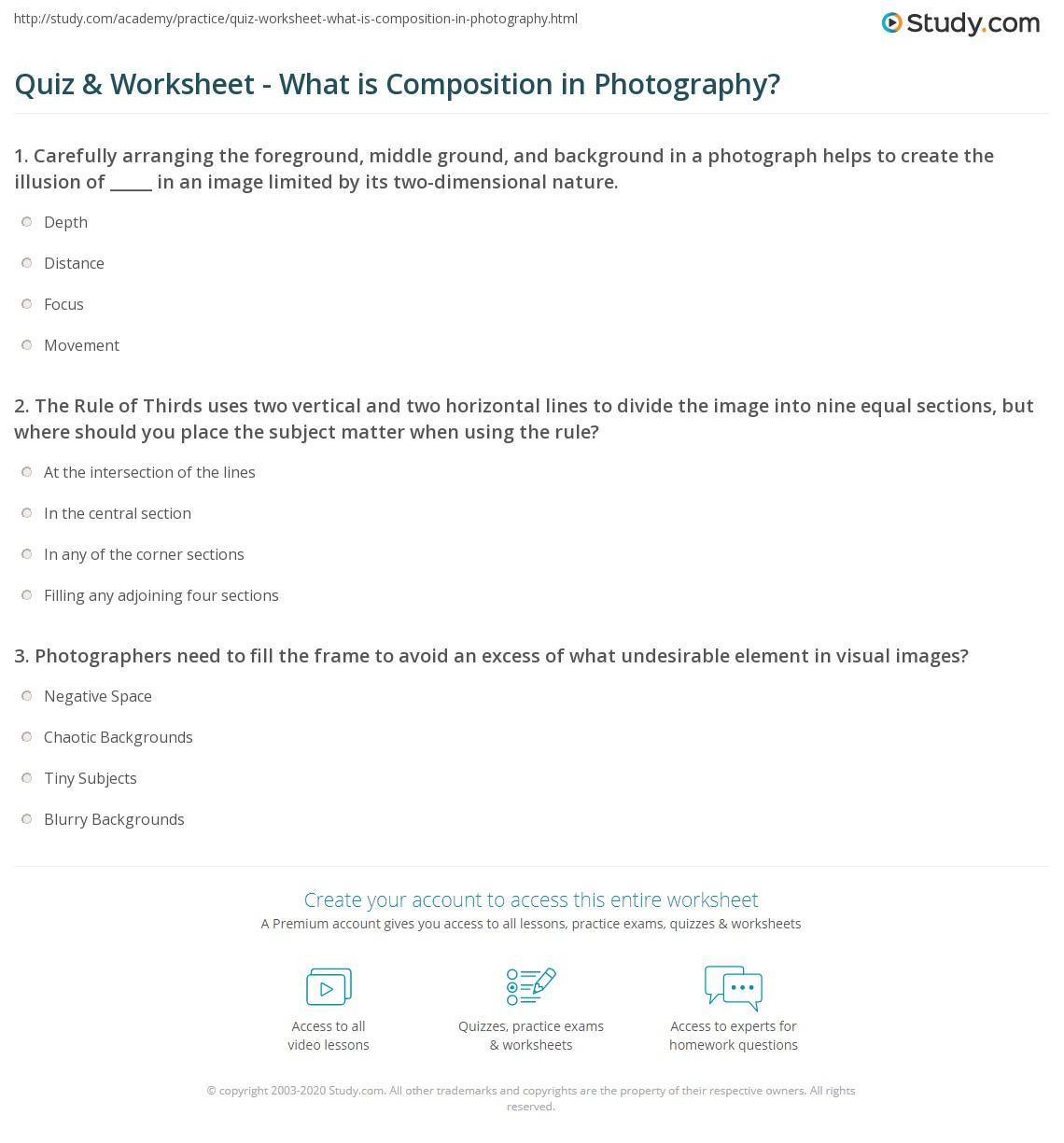 Quiz & Worksheet - What is Composition in Photography? | Study.com