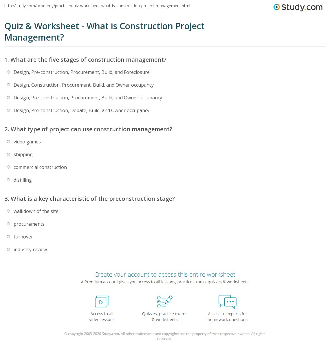 Quiz worksheet what is construction project management print construction project management definition examples worksheet yelopaper Gallery