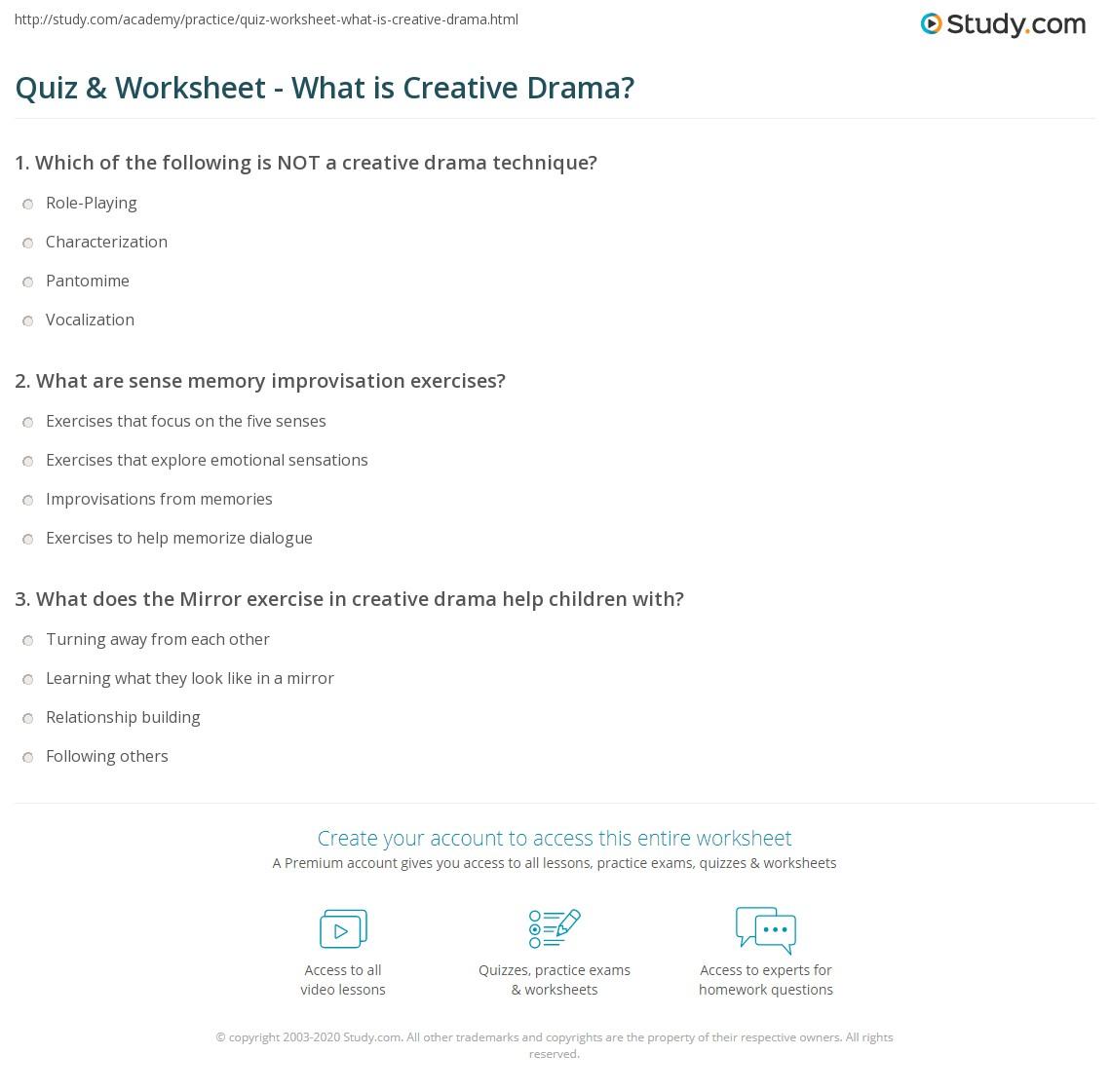 Quiz & Worksheet - What is Creative Drama? | Study.com