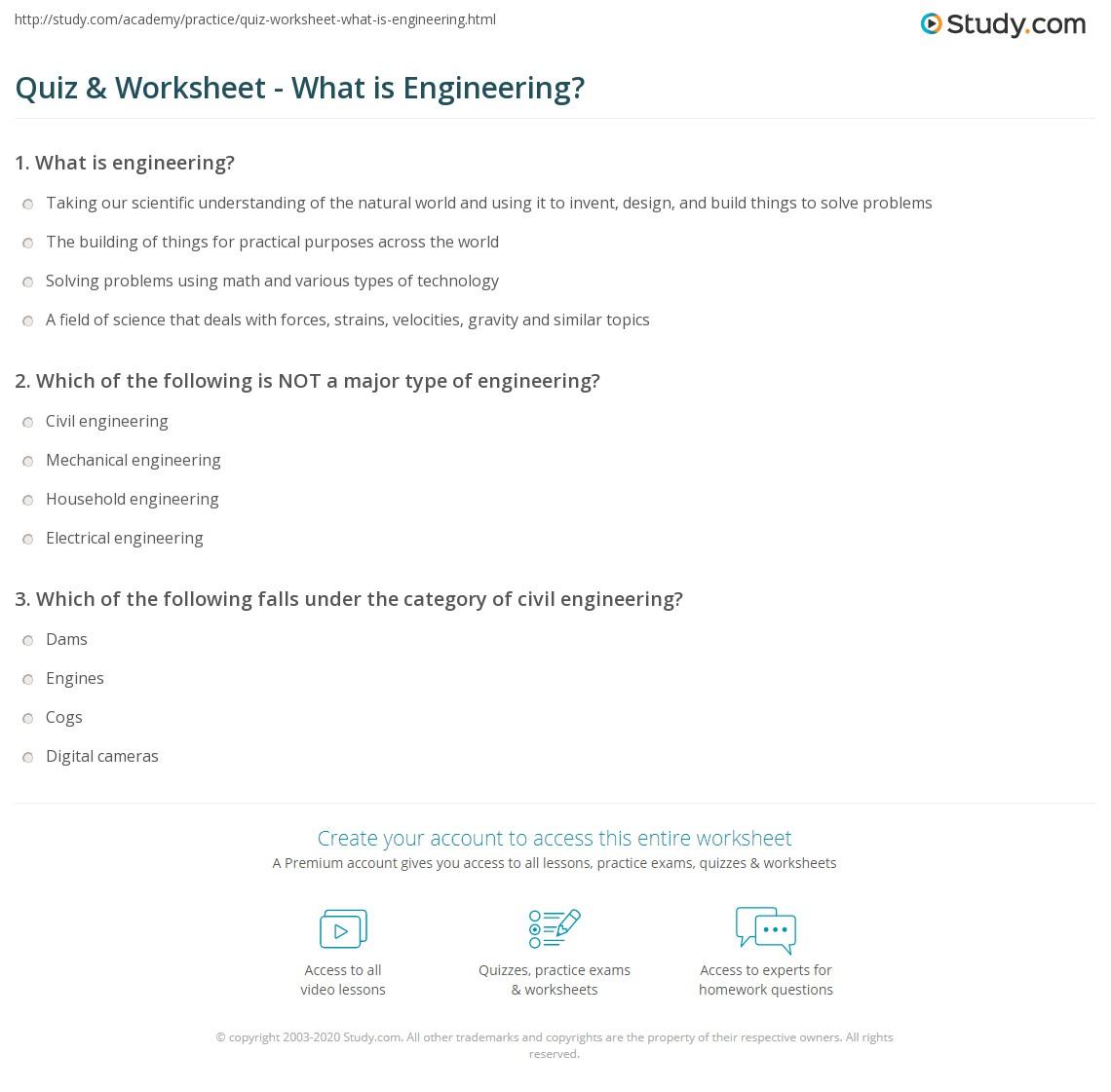 Worksheets Engineering Worksheets quiz worksheet what is engineering study com print definition types worksheet