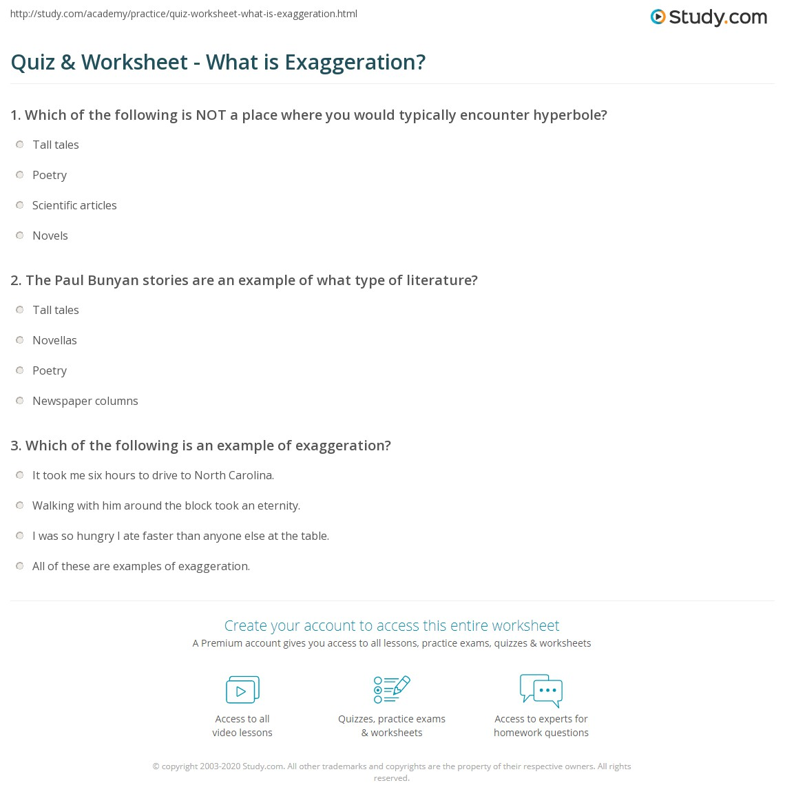 Quiz Worksheet What Is Exaggeration Study