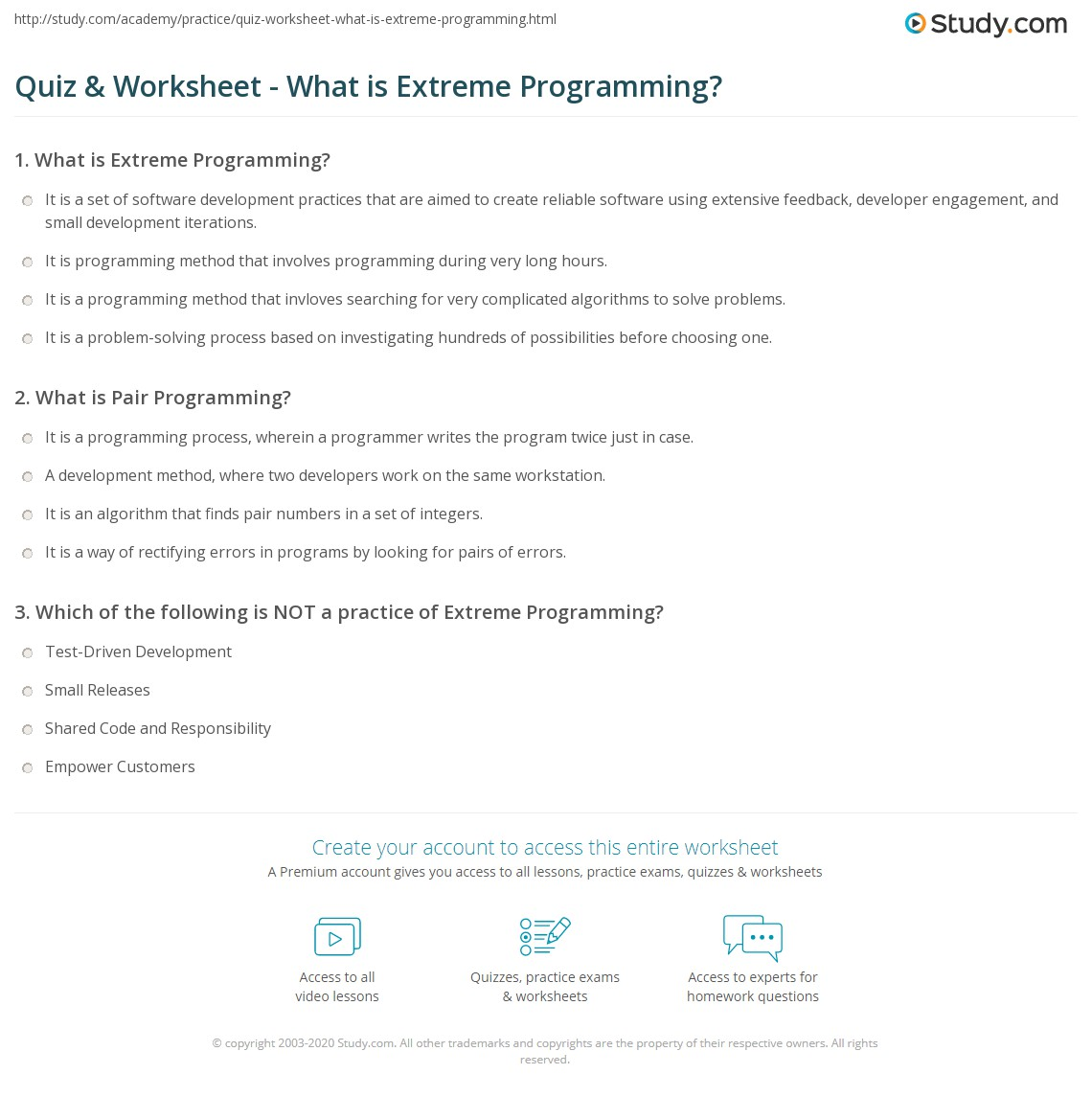 Quiz Worksheet What Is Extreme Programming Study Com