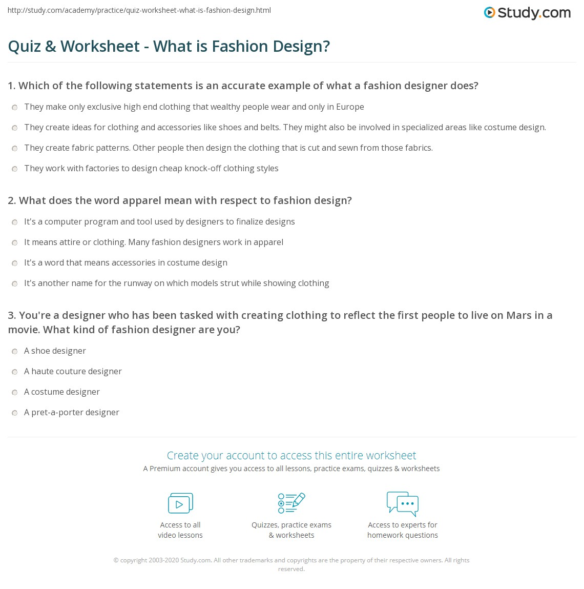 Quiz Worksheet What Is Fashion Design Study Com