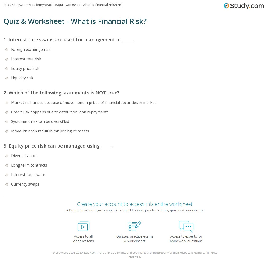 Quiz & Worksheet - What is Financial Risk? | Study com