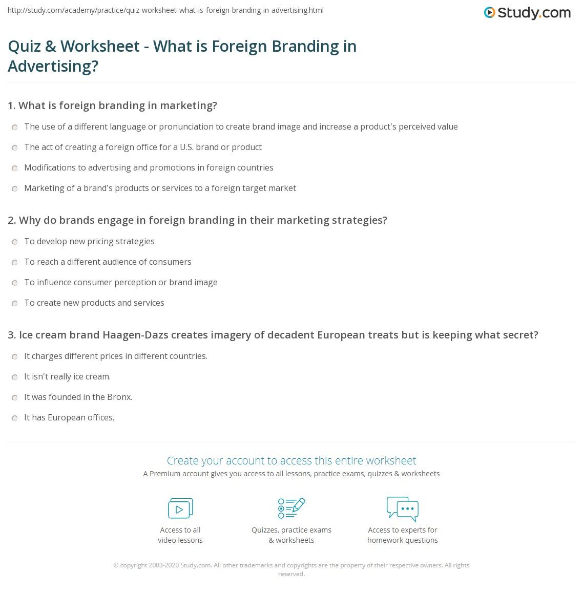 Print Foreign Branding In Marketing: Definition U0026 Examples Worksheet