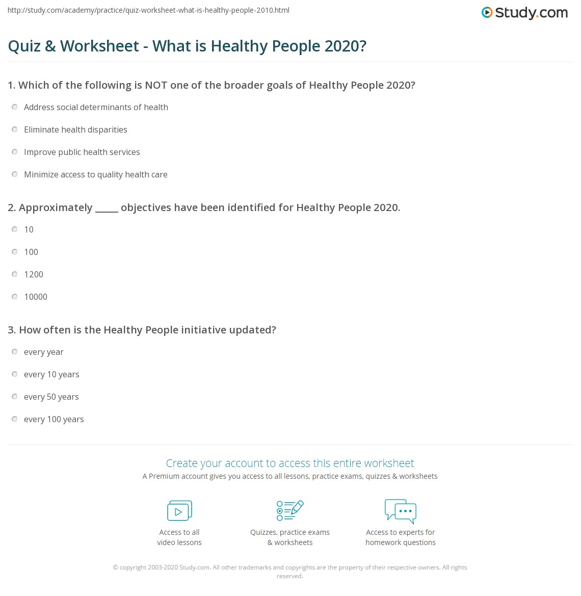 Quiz & Worksheet - What is Healthy People 2020?   Study.com