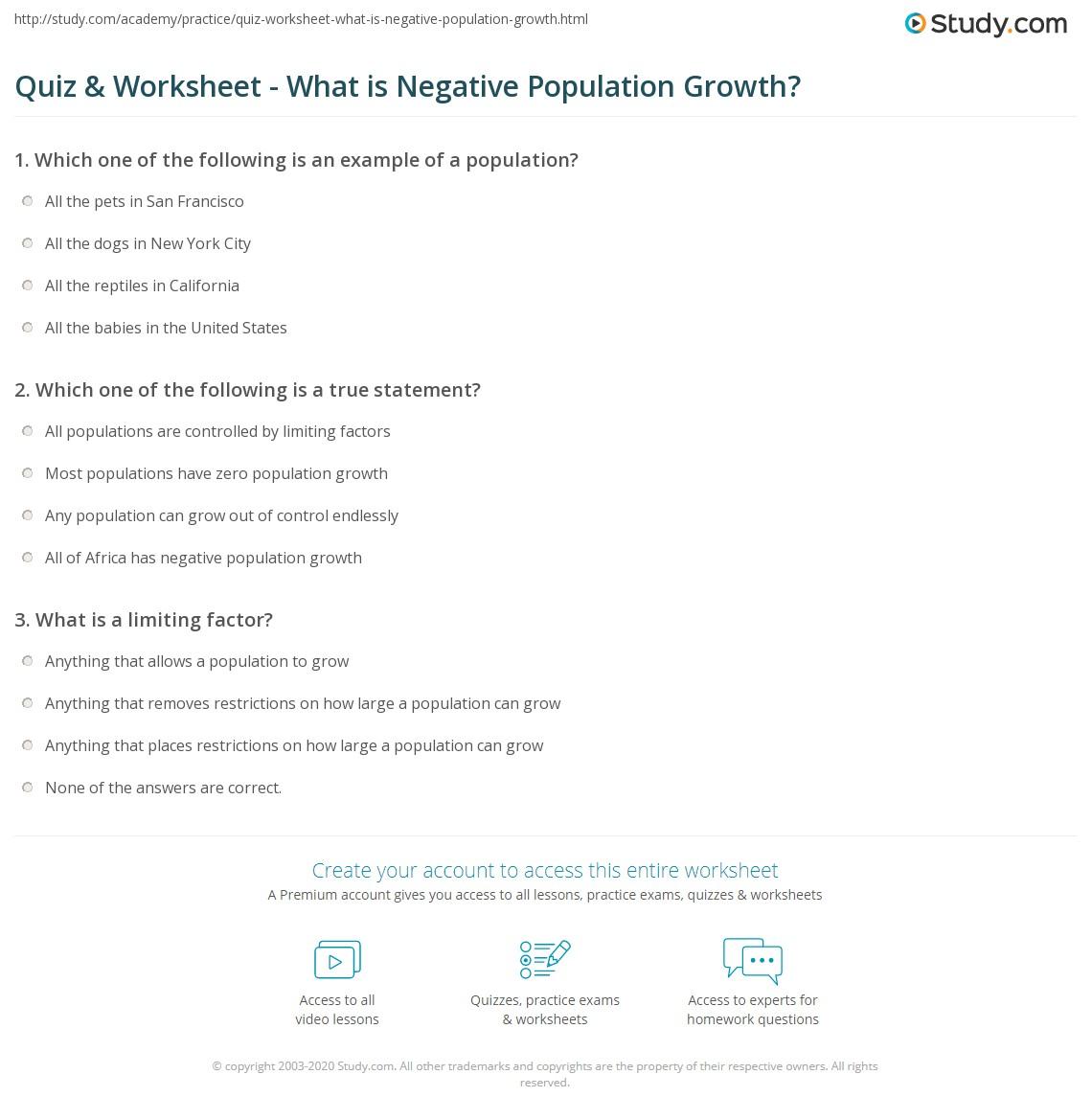 worksheet Population Growth Worksheet quiz worksheet what is negative population growth study com print definition effects countries worksheet