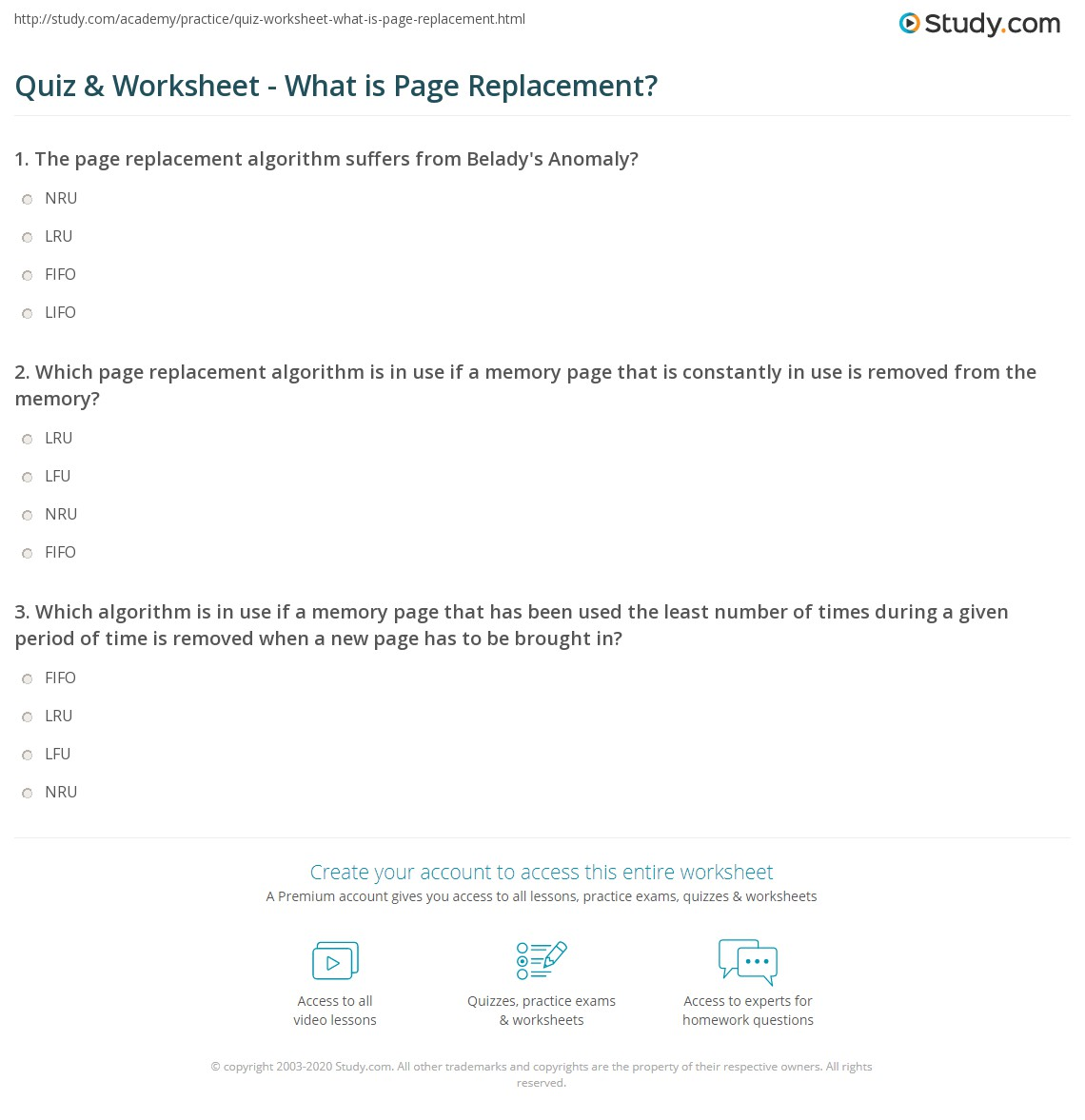Quiz & Worksheet - What is Page Replacement? | Study com