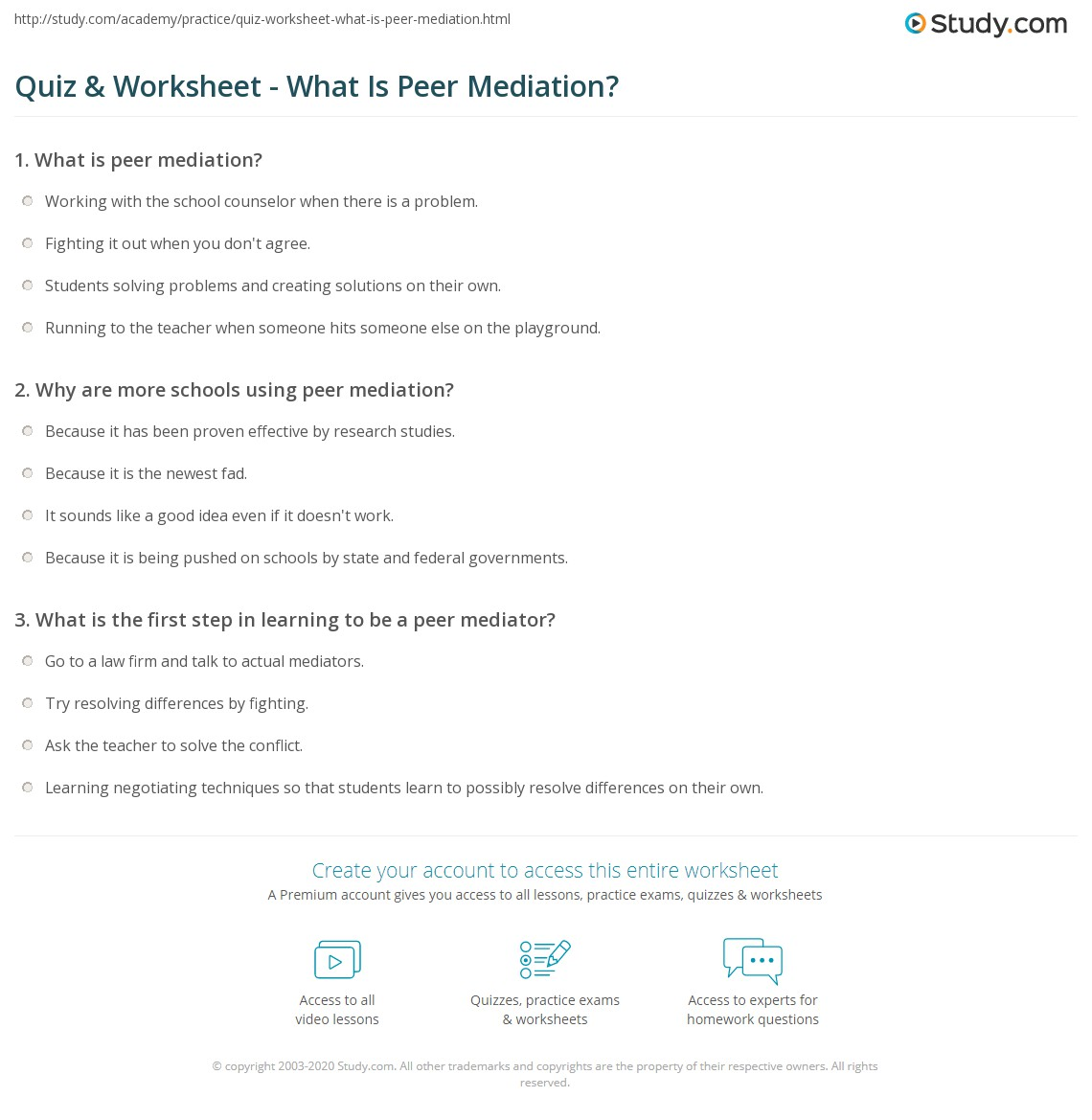 quiz amp worksheet what is peer mediation studycom
