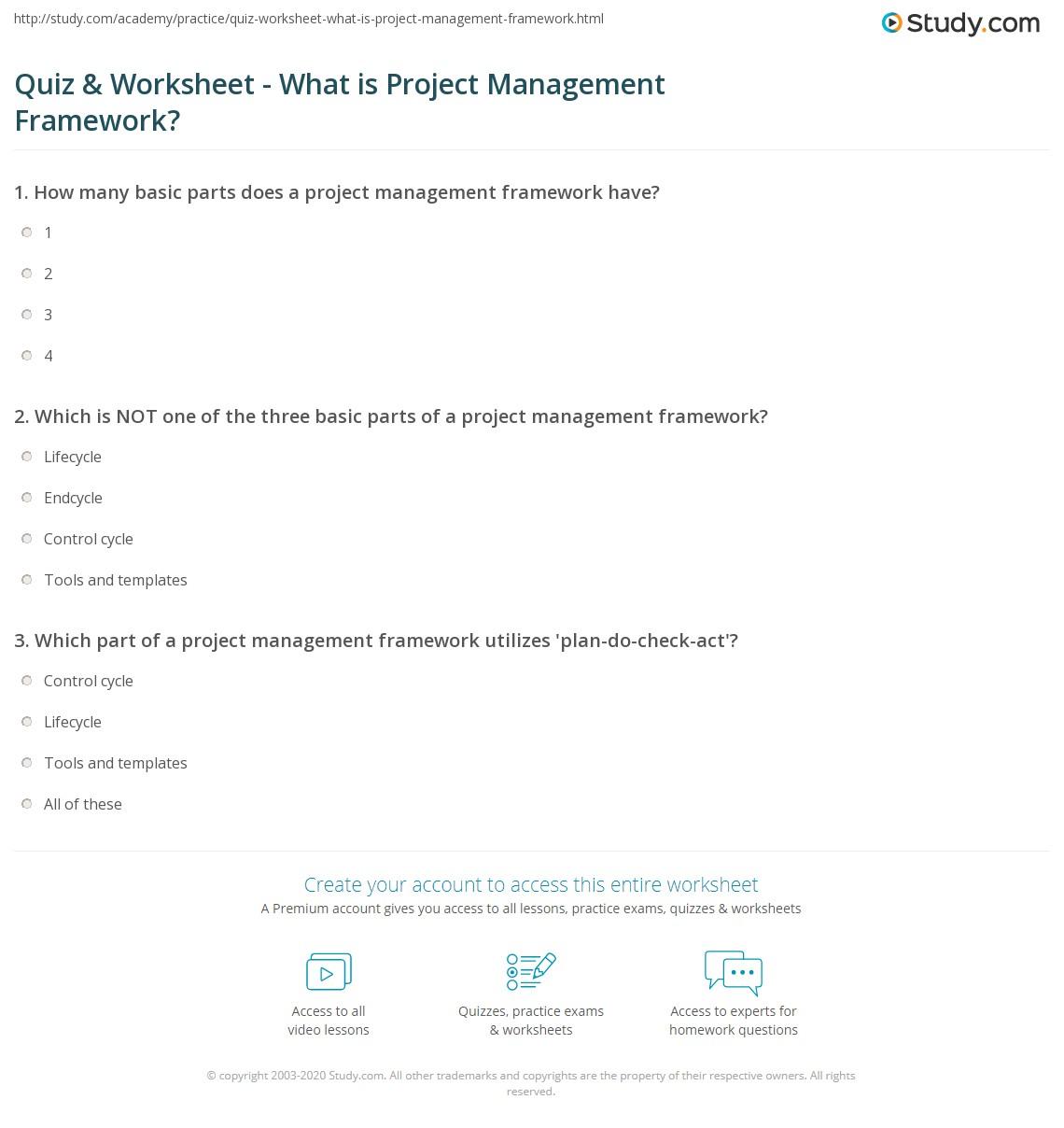 Worksheets Project Management Worksheets quiz worksheet what is project management framework study com print a definition examples worksheet