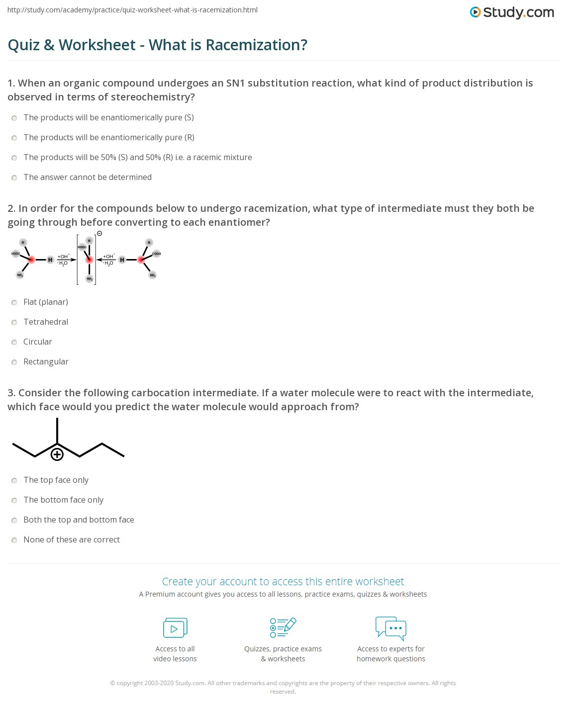 Quiz Worksheet What is Racemization – Organic Compounds Worksheet Answers
