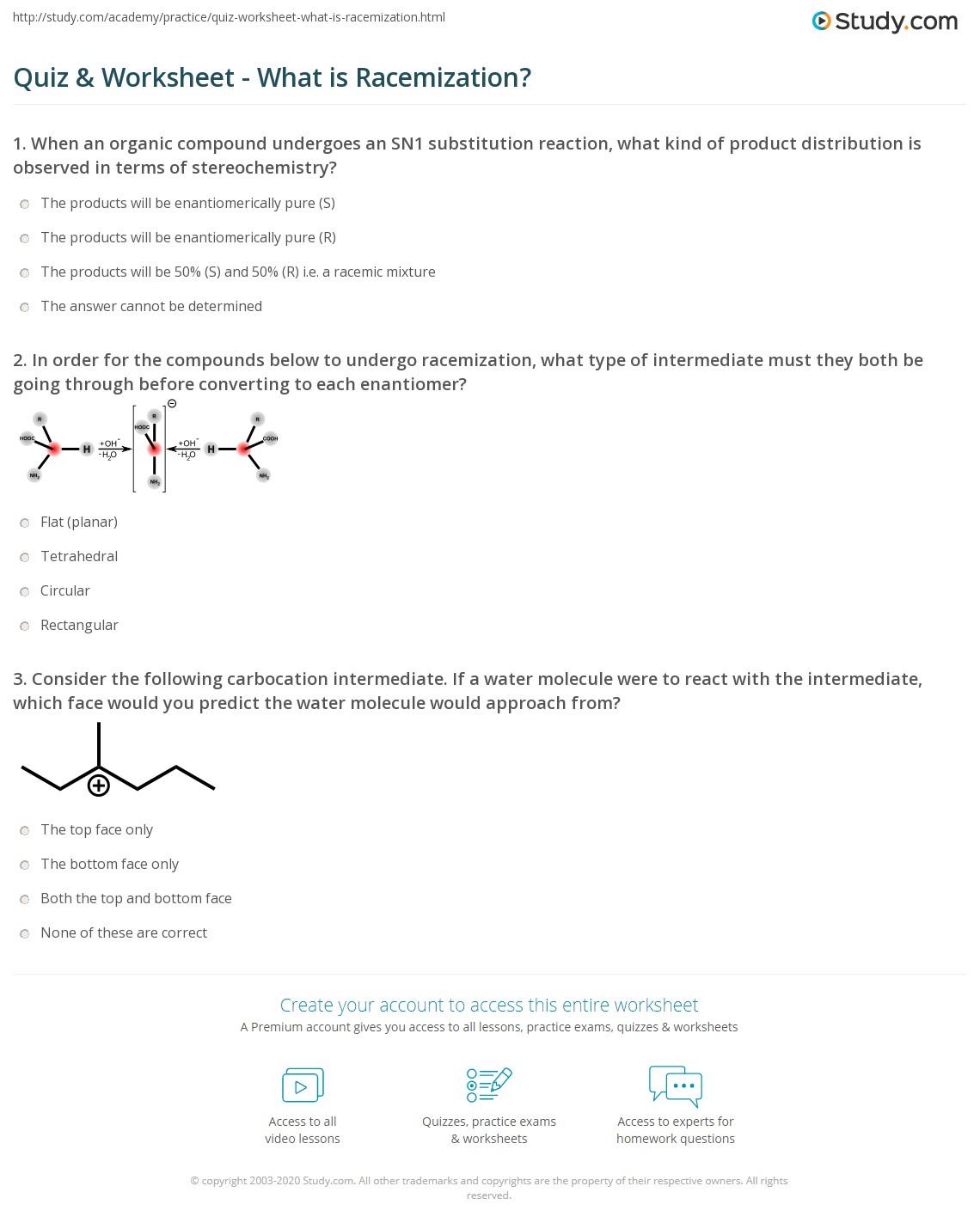 Quiz Worksheet What is Racemization – Organic Compound Worksheet