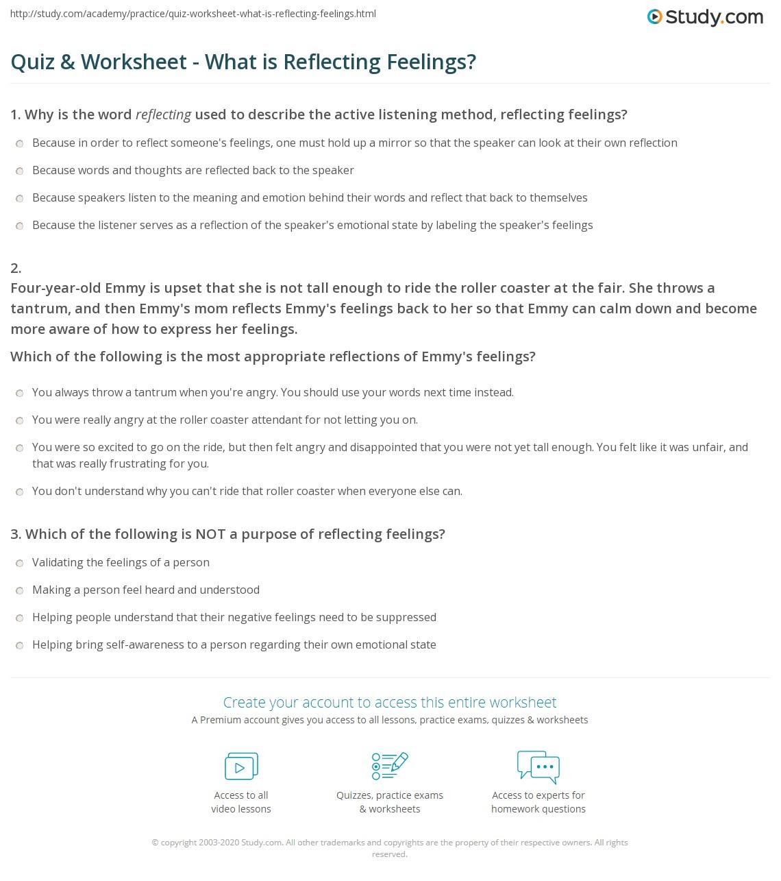 Quiz Worksheet What Is Reflecting Feelings Study