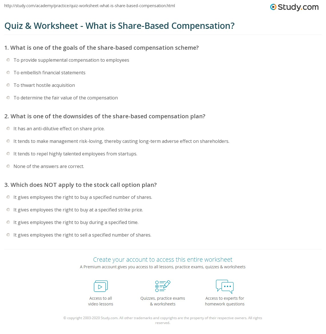 Quiz Worksheet What Is Share Based Compensation Study