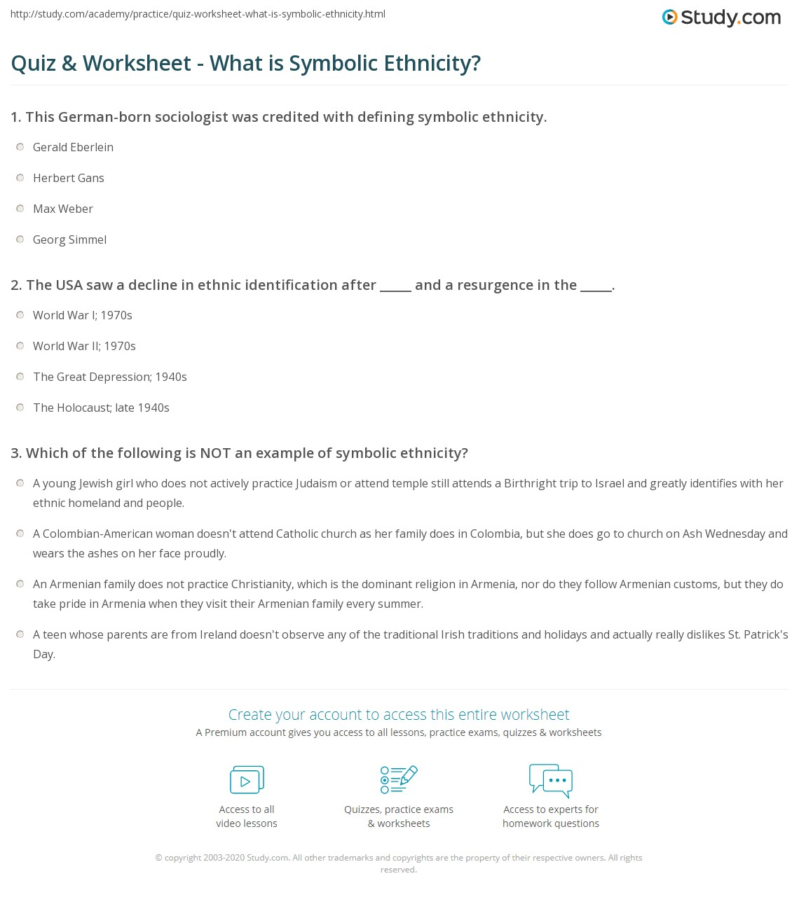 Quiz worksheet what is symbolic ethnicity study print symbolic ethnicity definition examples worksheet biocorpaavc Images