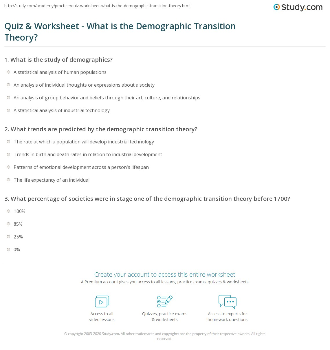 quiz worksheet what is the demographic transition theory. Black Bedroom Furniture Sets. Home Design Ideas