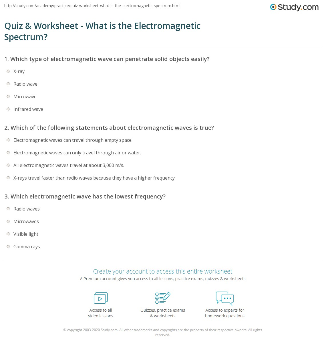 Quiz & Worksheet - What is the Electromagnetic Spectrum? | Study.com