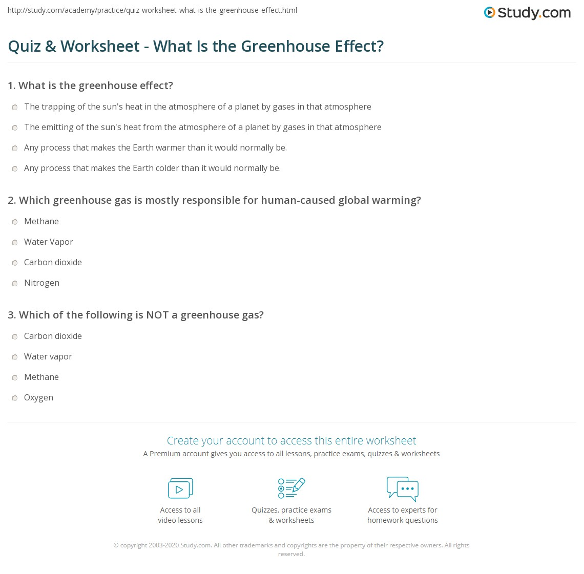 quiz & worksheet - what is the greenhouse effect? | study