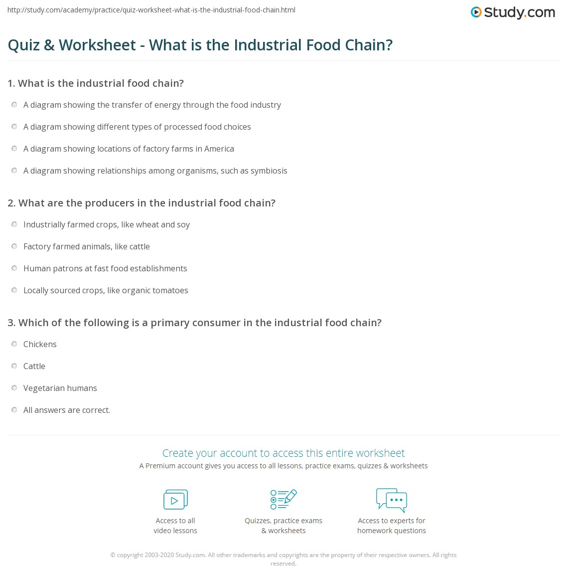 Quiz Worksheet What Is The Industrial Food Chain Study