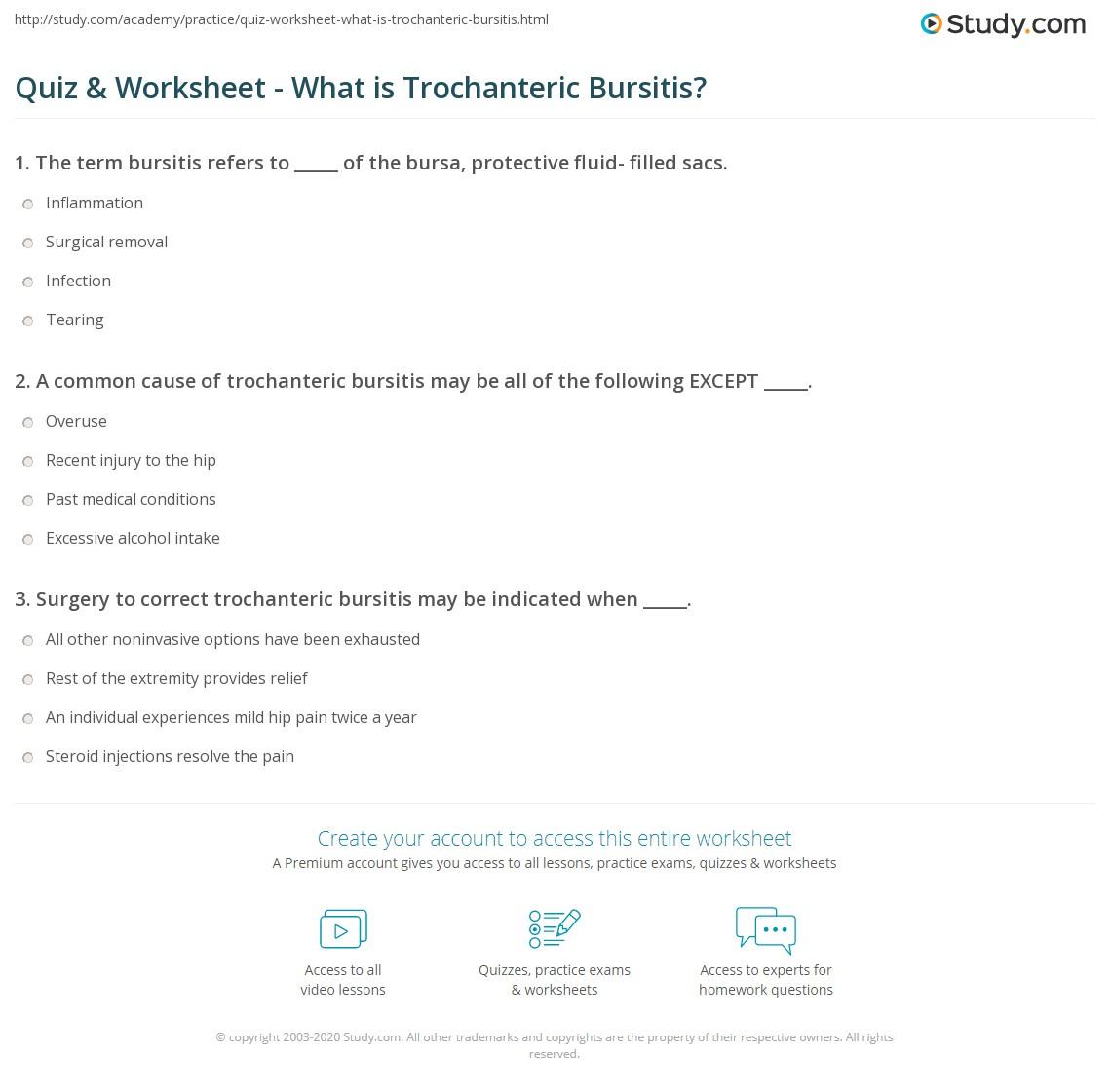Quiz & Worksheet - What is Trochanteric Bursitis?   Study.com