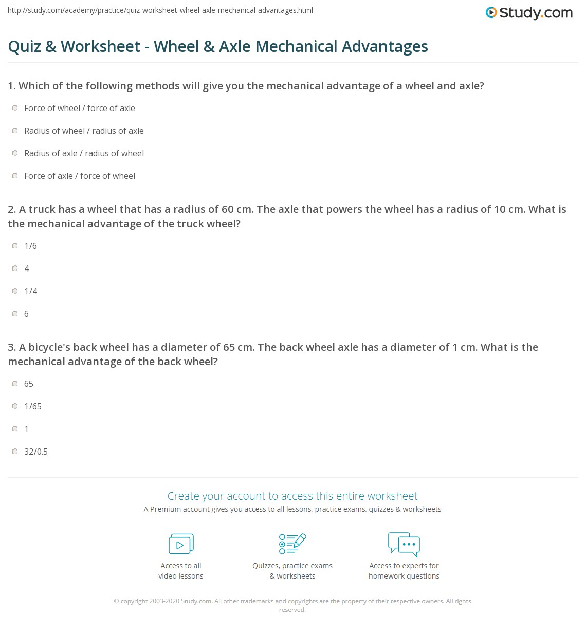 Print Mechanical Advantage of the Wheel & Axle Worksheet