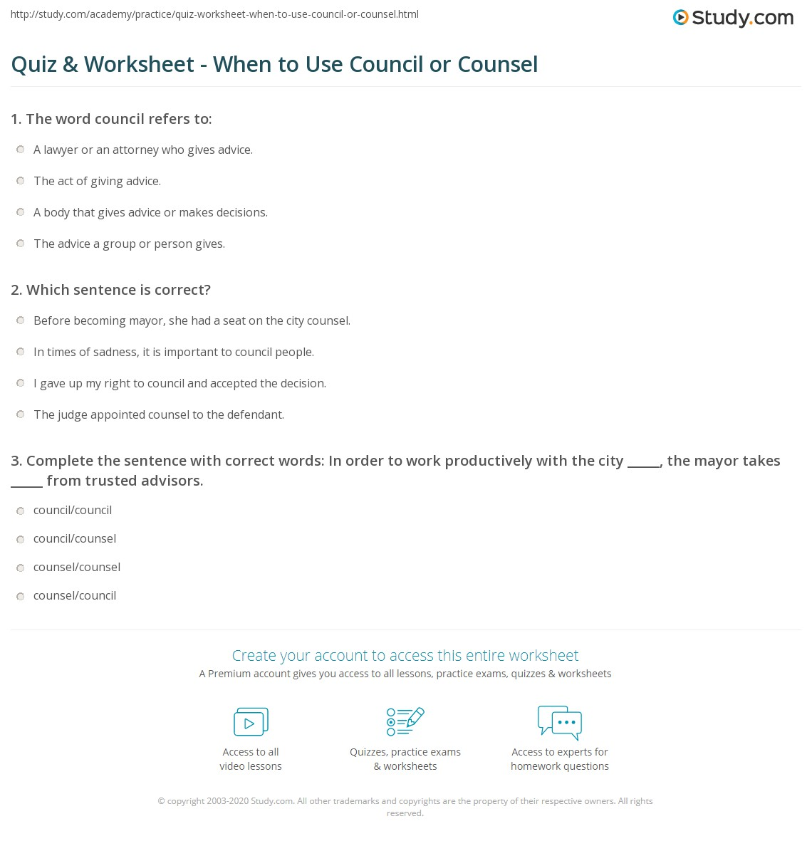 Quiz & Worksheet - When to Use Council or Counsel | Study com