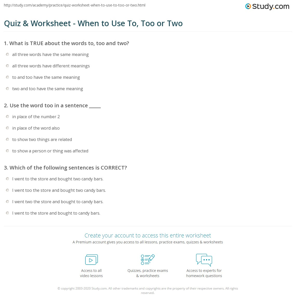 Quiz & Worksheet - When to Use To, Too or Two | Study.com