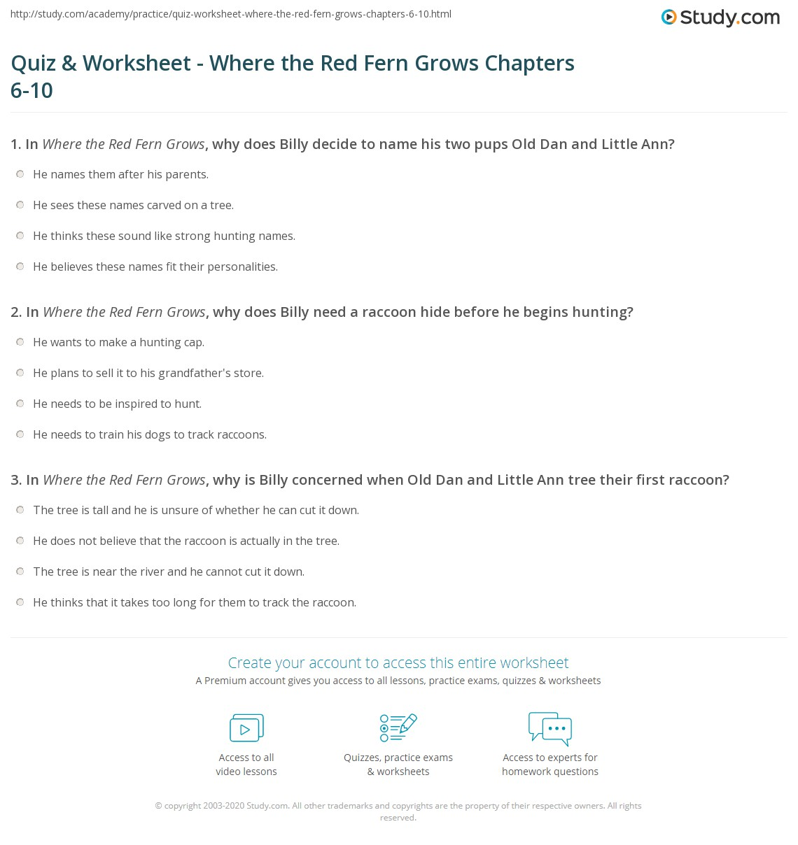 quiz worksheet where the red fern grows chapters 6 10. Black Bedroom Furniture Sets. Home Design Ideas
