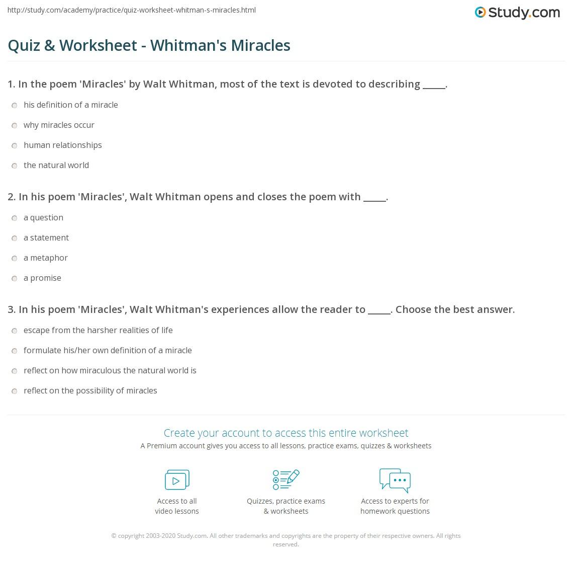 Quiz & Worksheet - Whitman's Miracles | Study com