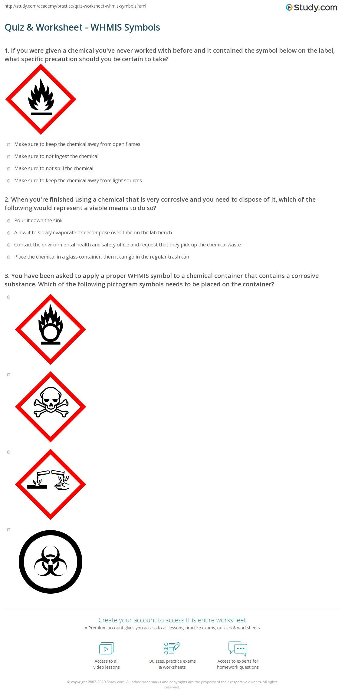 Quiz & Worksheet - WHMIS Symbols | Study com