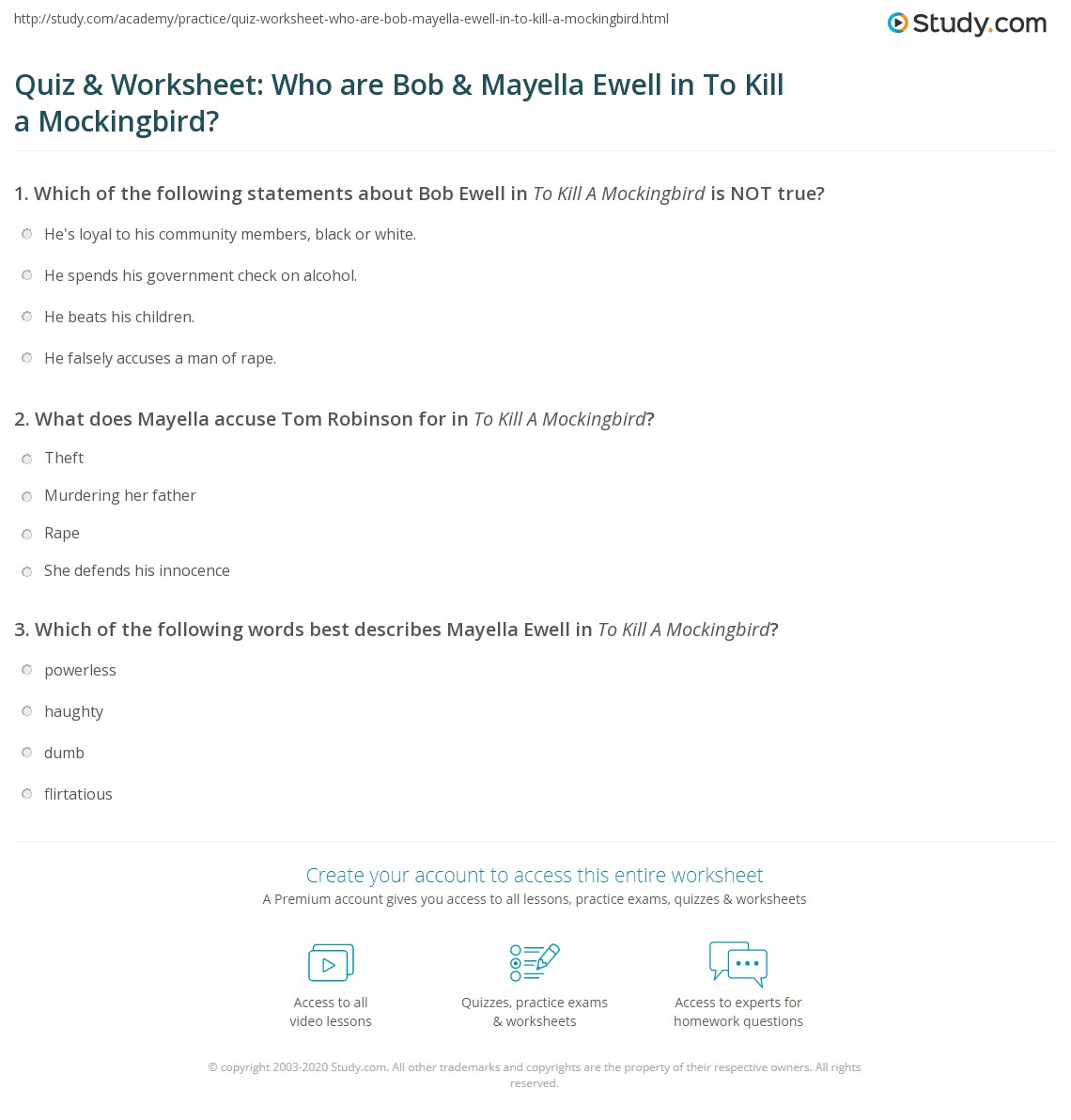 Bob Ewell Quotes And Page Numbers: Quiz & Worksheet: Who Are Bob & Mayella Ewell In To Kill A