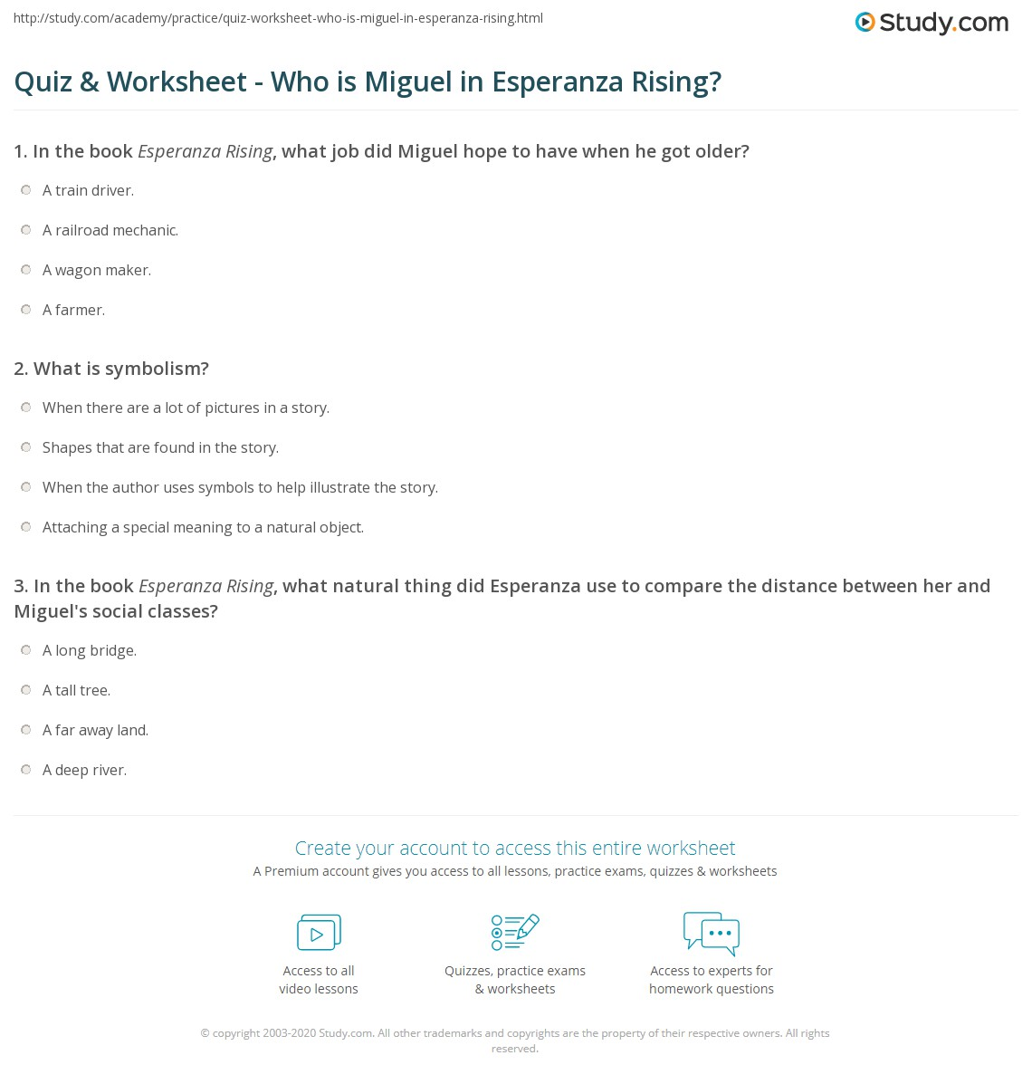 Quiz Worksheet Who Is Miguel In Esperanza Rising Study