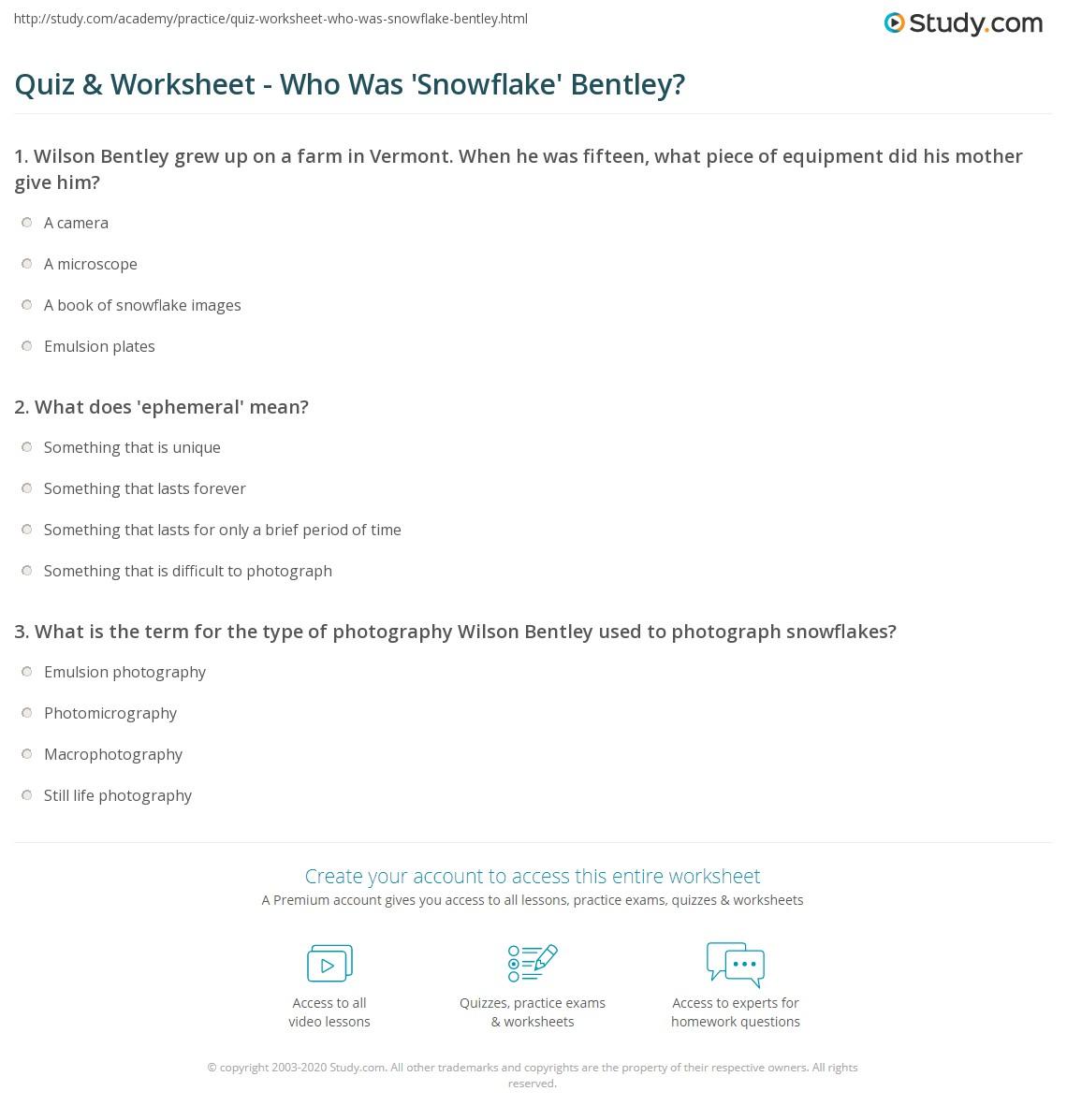 Quiz Worksheet Who Was Snowflake Bentley – Snowflake Bentley Worksheets
