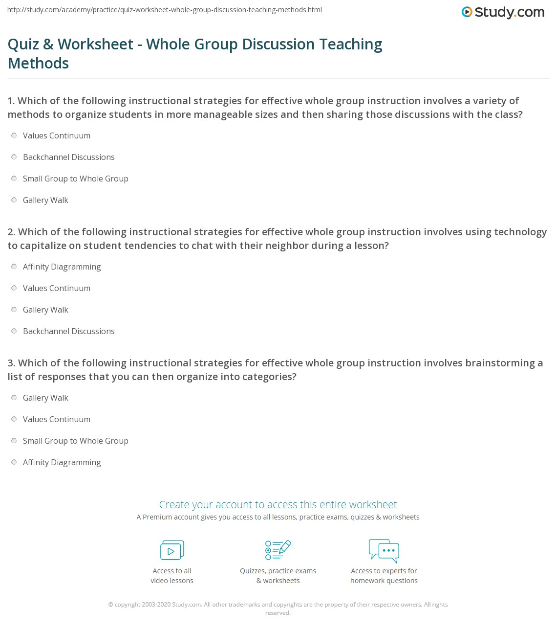 Quiz & Worksheet - Whole Group Discussion Teaching Methods | Study com