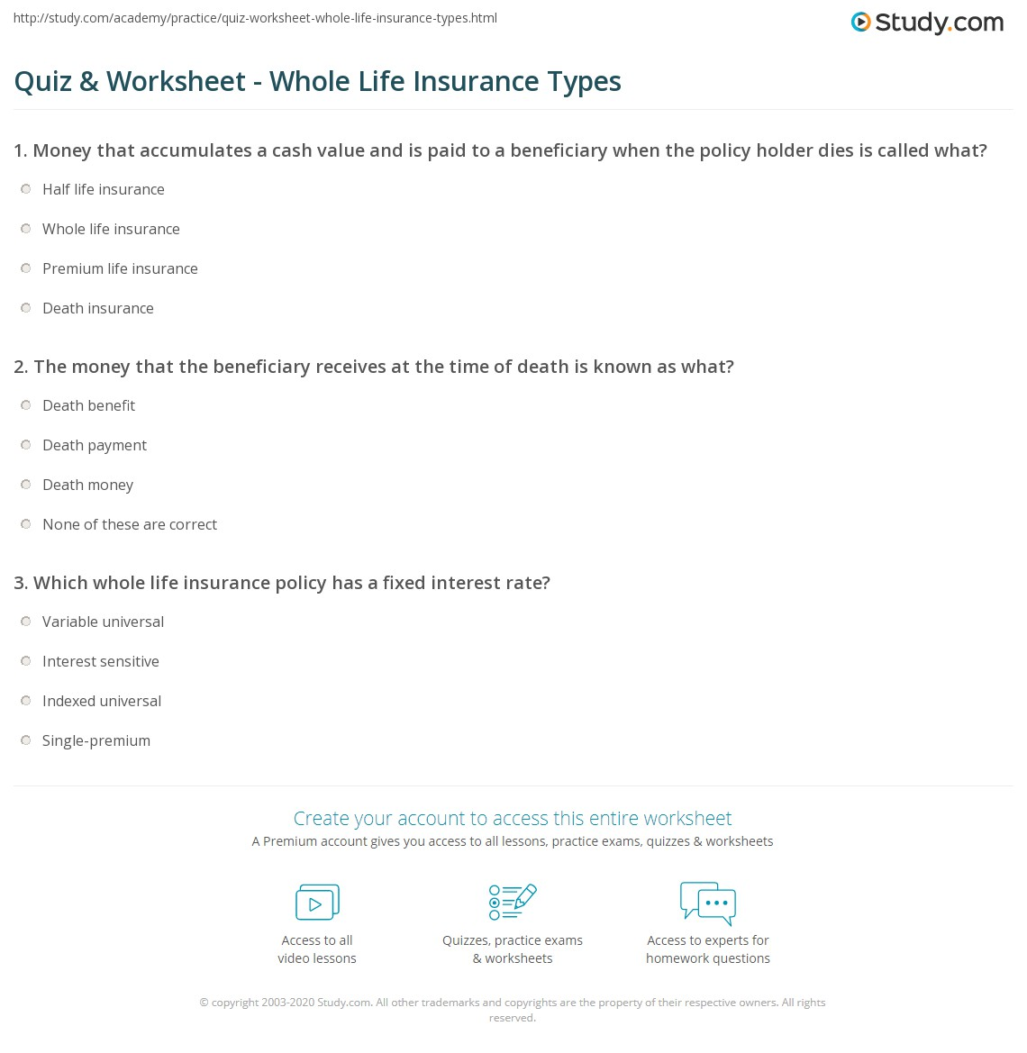 quiz & worksheet - whole life insurance types | study