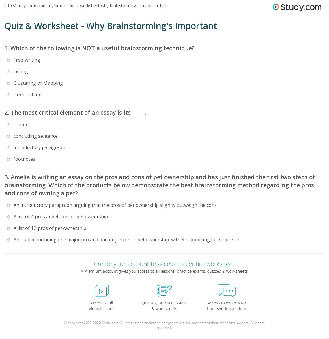 Quiz Worksheet Why Brainstorming 39 S Important Study Com