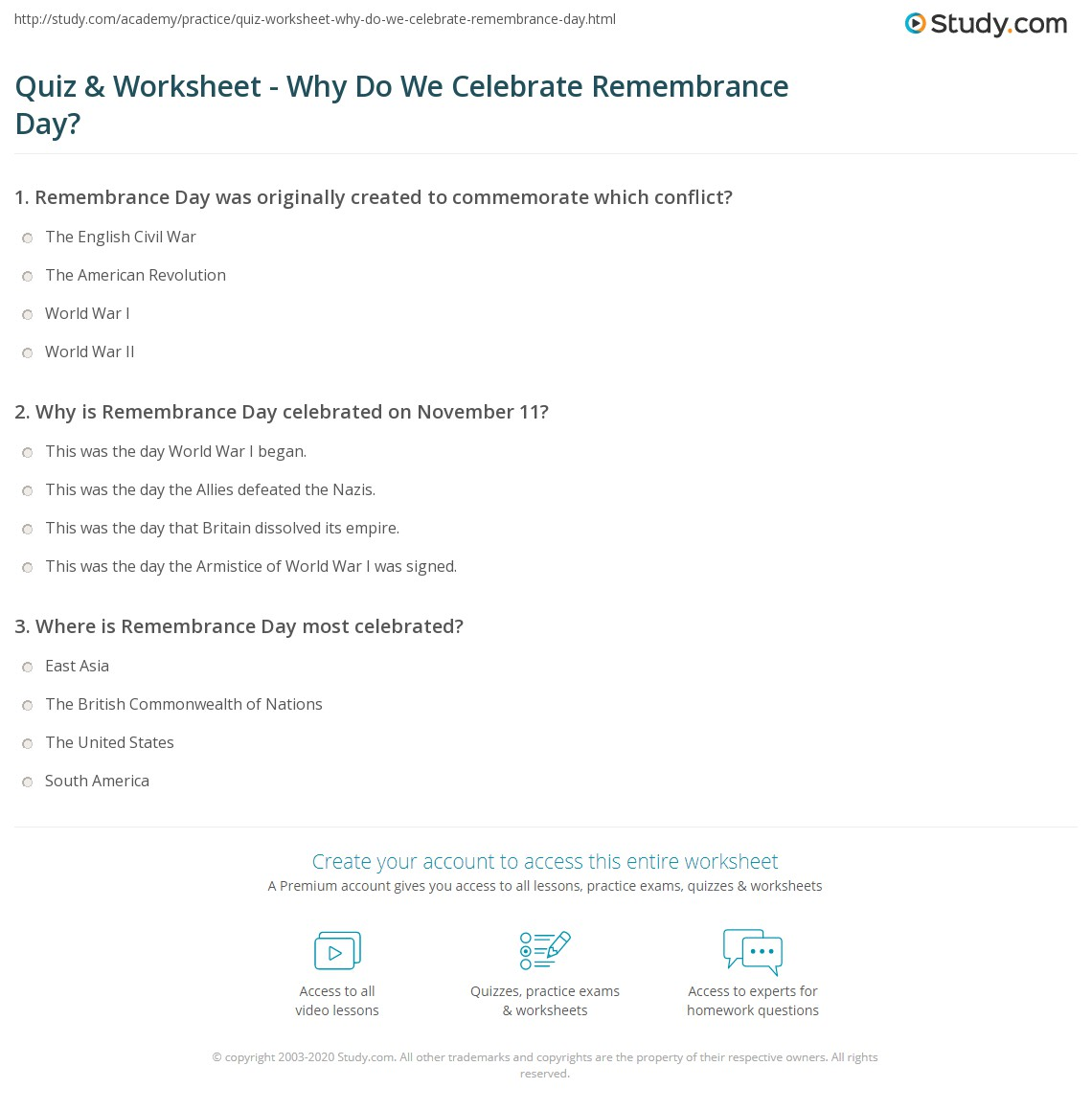 Quiz Worksheet Why Do We Celebrate Remembrance Day Study