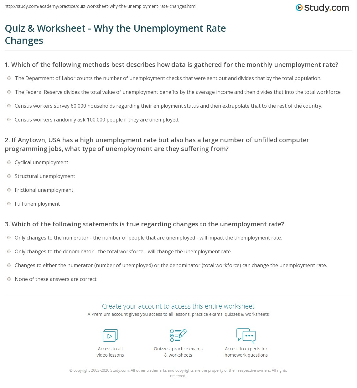 Quiz & Worksheet - Why the Unemployment Rate Changes | Study.com