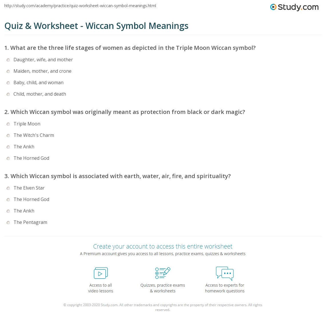 Quiz Worksheet Wiccan Symbol Meanings Study