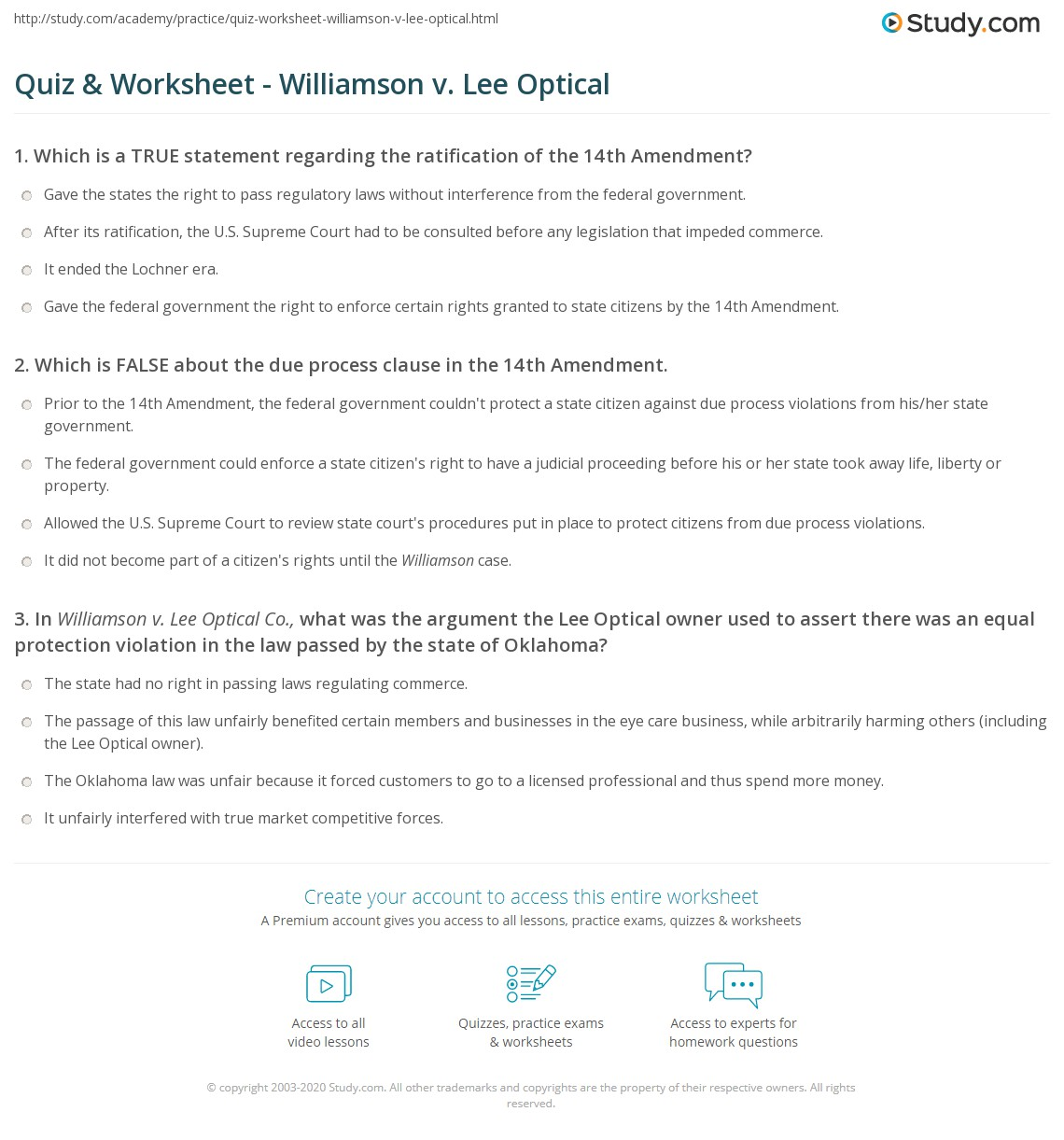 quiz worksheet williamson v lee optical. Black Bedroom Furniture Sets. Home Design Ideas