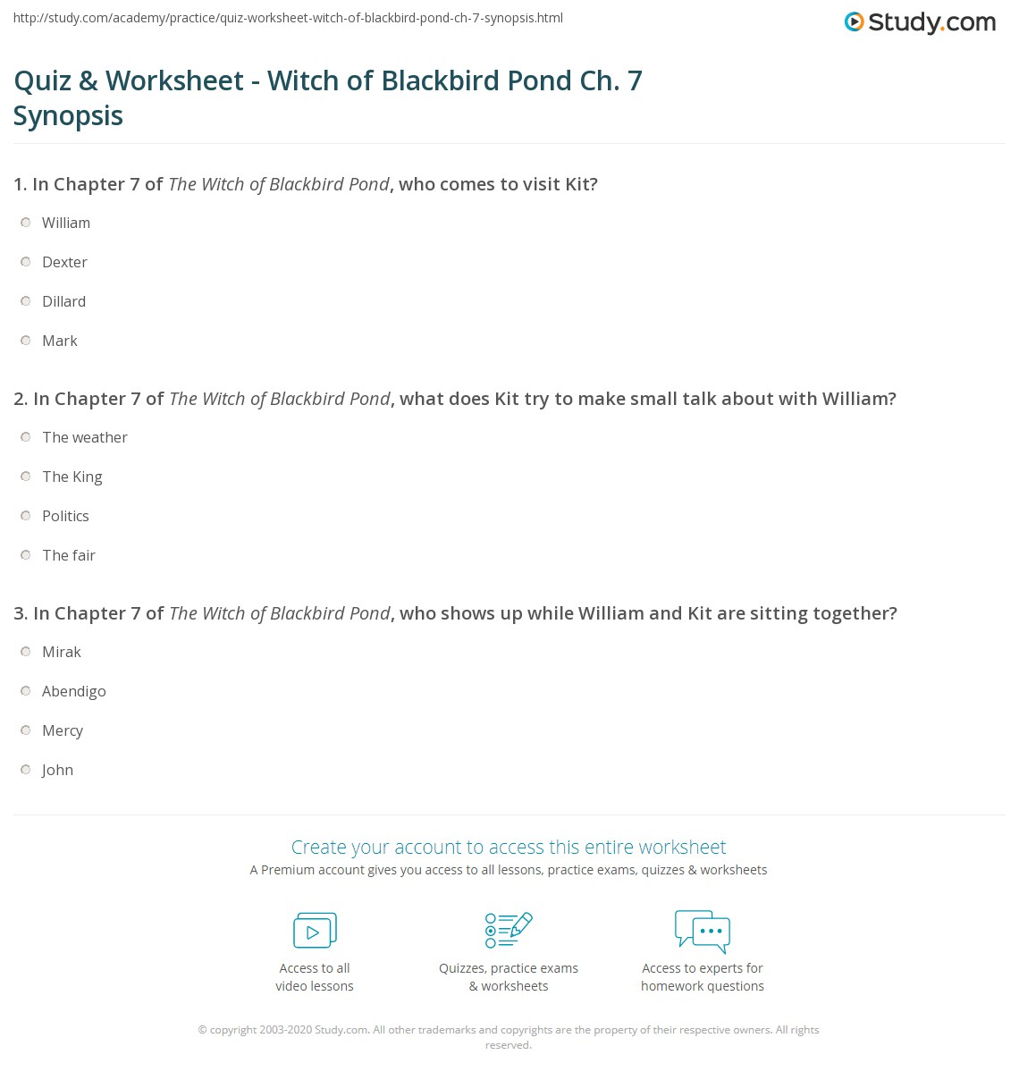 Quiz & worksheet witch of blackbird pond ch. 7 synopsis | study. Com.