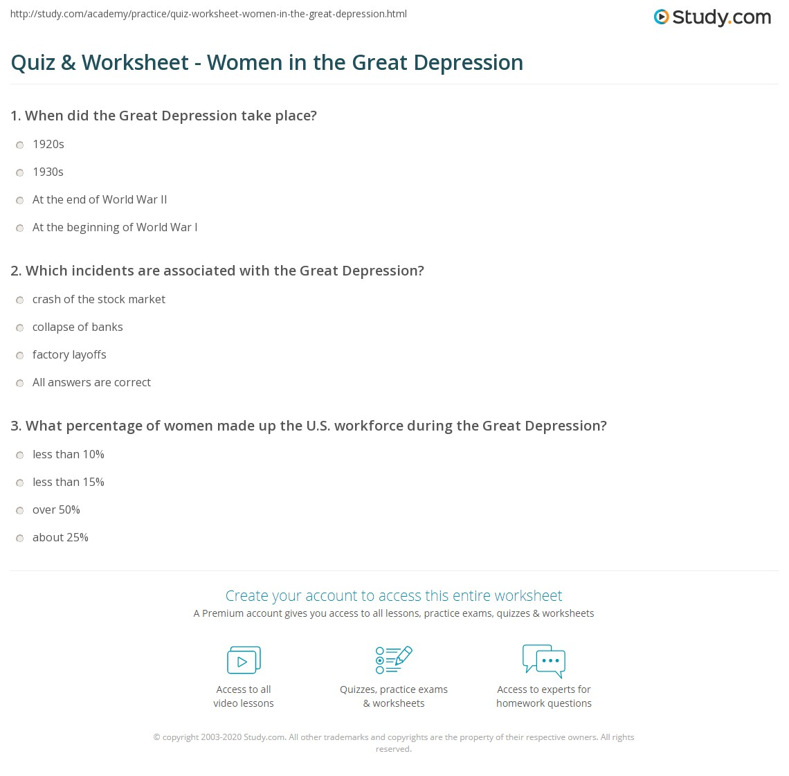 Worksheets Great Depression Worksheets quiz worksheet women in the great depression study com print during worksheet