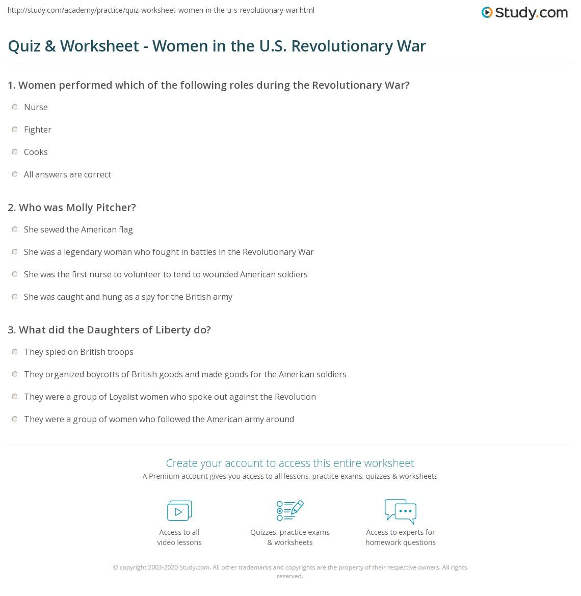 Worksheets American Revolutionary War Worksheets quiz worksheet women in the u s revolutionary war study com print roles of worksheet