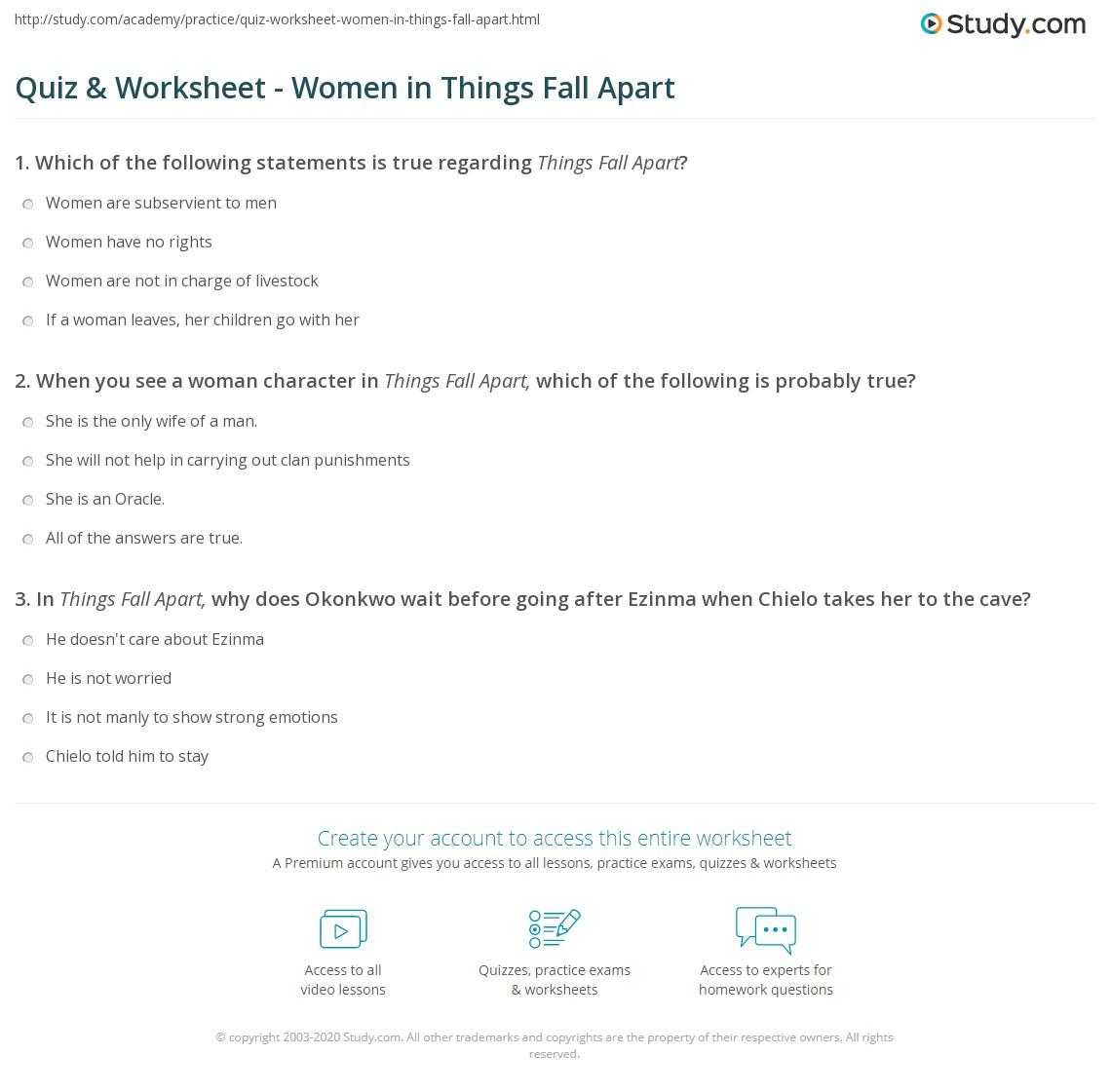 Quiz & Worksheet - Women In Things Fall Apart