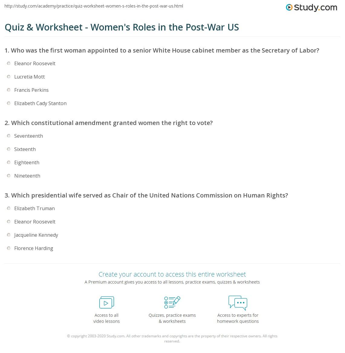 Quiz Amp Worksheet Women S Roles In The Post War Us
